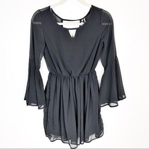 Paper Crane Gray Bell Sleeve Dress Size Small